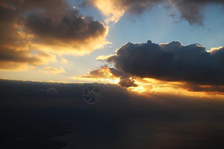 飞机上的日落图片