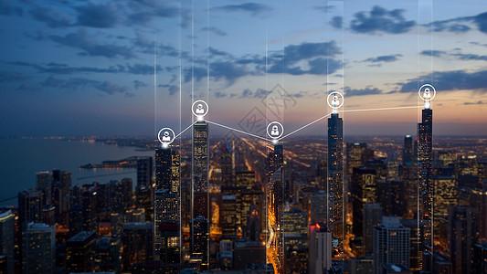 城市大厦的商业信息科技链接图片