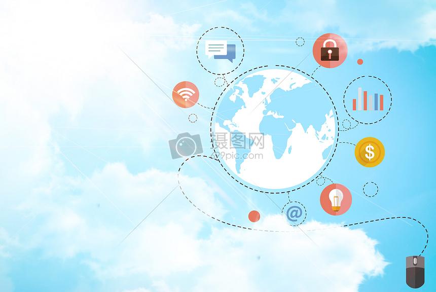 金融经济商务科技蓝天白云素材海报背景