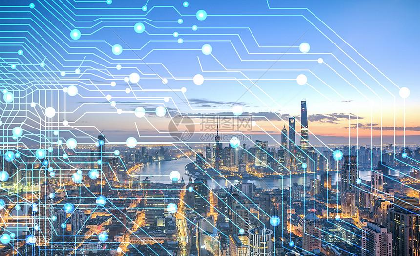 商务科技感城市建筑电路线素材背景