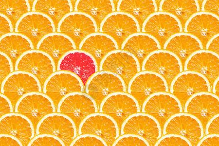 平铺的与众不同的橙子片图片