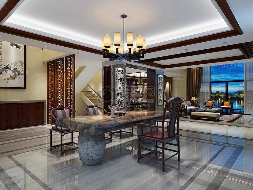 沙发新中式风格青砖餐桌餐桌效果图新中式效果图屏风古典家具地砖拼花图片