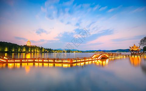 西湖夜景图片