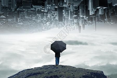 创意拿着雨伞的男人图片