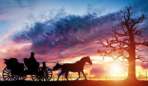 黄昏下驾马车的老人图片