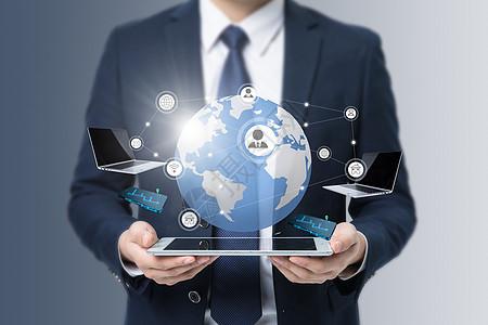 职场精英把握世界,关联电脑平板手机图片