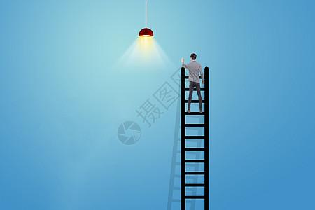 灯泡与登梯商务人 图片