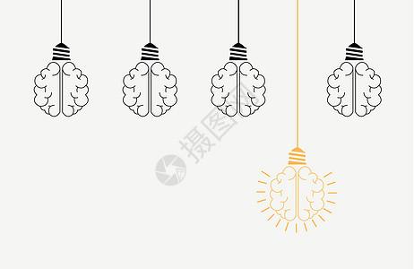 创意灯泡大脑图片