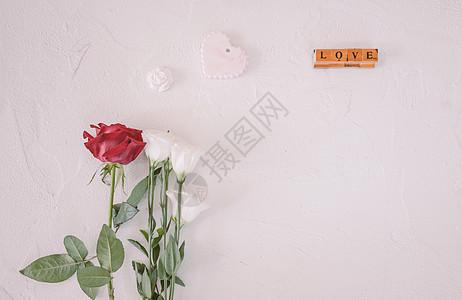 七夕情人节玫瑰白色背景素材图片