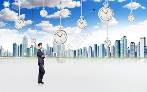 时钟城市背景图图片