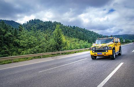 行驶在公路上的婚车图片