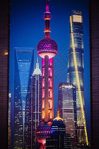 上海陆家嘴彩色三件套建筑夜景图片