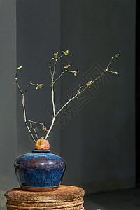 花瓶、石榴与树枝图片