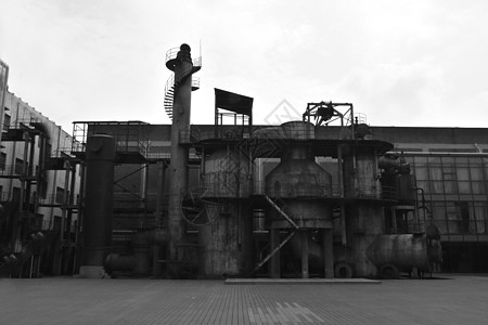 废弃破旧的工厂厂房外观图片