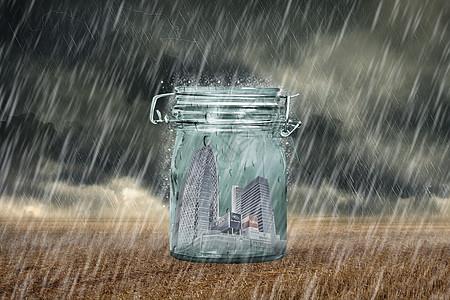 玻璃罐里的建筑防止污染的概念图片
