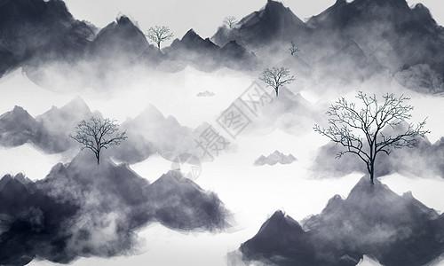 山林烟雾背景素材图片
