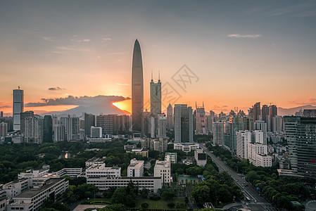 日出东山城市建筑风光图片