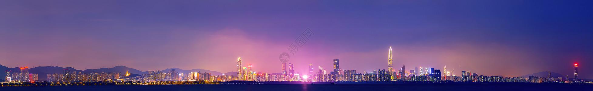 城市地平线夜景风光图片