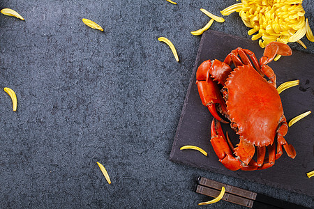菊黄蟹肥图片