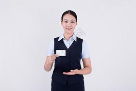 女职员白领递名片动作图片