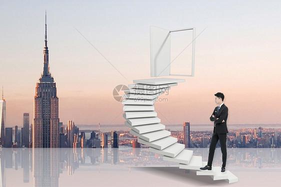 向上走的商务人士图片