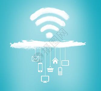 出云海云科技wifi在线蓝色背景素材图片