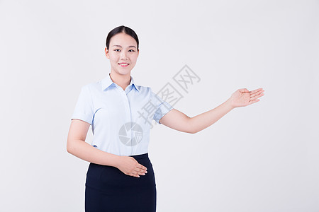 职业女性客服展示欢迎动作半身人像图片