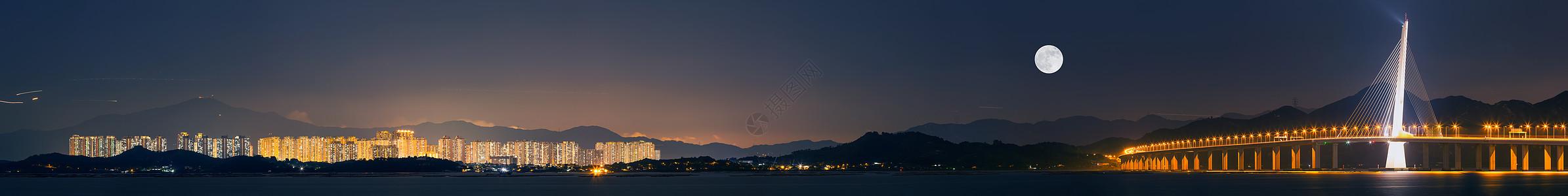 深圳湾跨海大桥城市风光夜景全景图图片