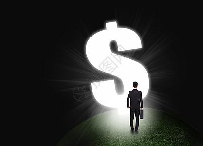 商人和大的美元货币符号图片