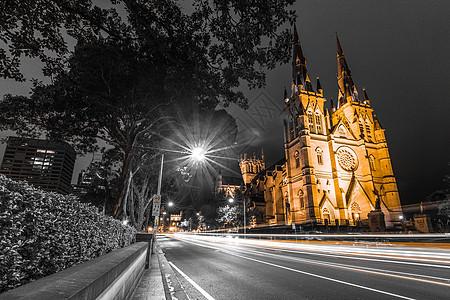 澳大利亚悉尼圣玛丽大教堂夜景图片
