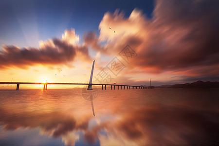 深圳湾大桥日出图片
