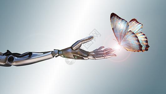 机械手臂与蝴蝶图片