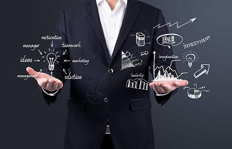 在商人手中的解的概念,创意素描业务战略规划理念图片