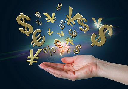 手托经济增长金钱符号图片
