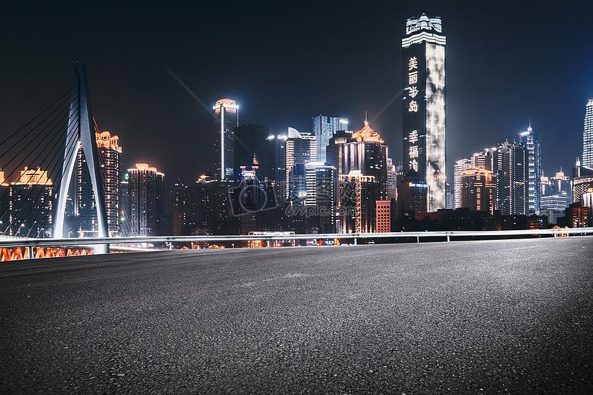 重庆夜晚城市汽车公路图片