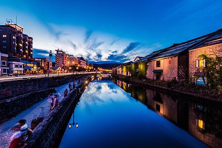 日本北海道小樽运河夜景图片