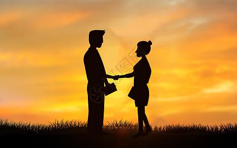 平衡木上握手商务男士剪影背景图片图片