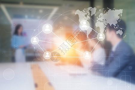 商务团队开会讨论科技背景素材图片
