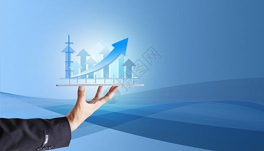金融商务坐标蓝色背景图图片