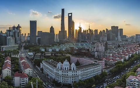 上海城市日落景观图片