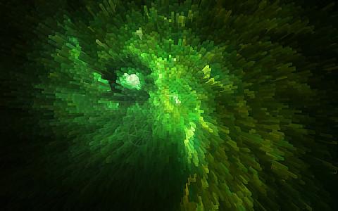 三维立体绿色渐变科技感马赛克图片