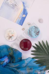 蓝色化妆品系列图片