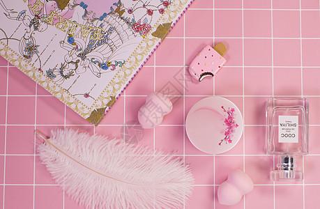 粉色系化妆品系列图片