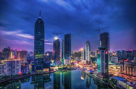 武汉城市夜景西北湖喷泉公园金融街图片