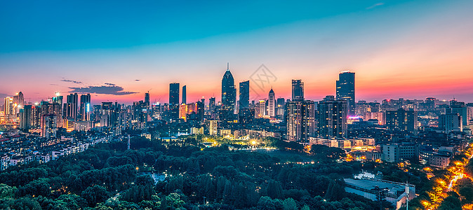 武汉城市夜景金融街全景图片