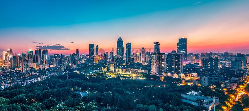 武汉城市夜景金融街全景摄影图片免费下载_地