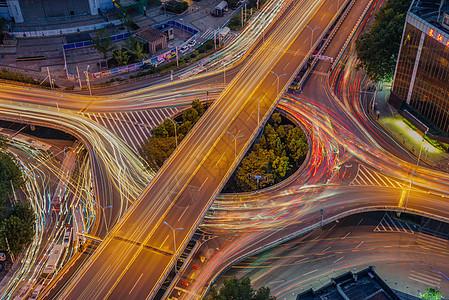 武汉城市夜景航空路立交桥车轨图片