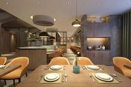 现代北欧风餐厅室内设计效果图图片