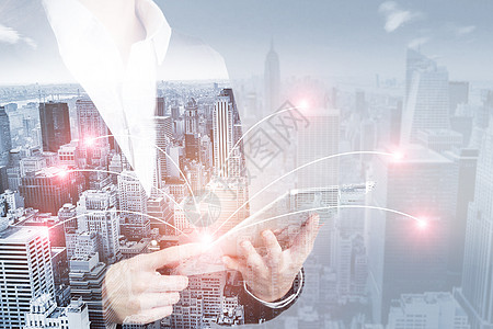 模糊城市和网络连接概念图片
