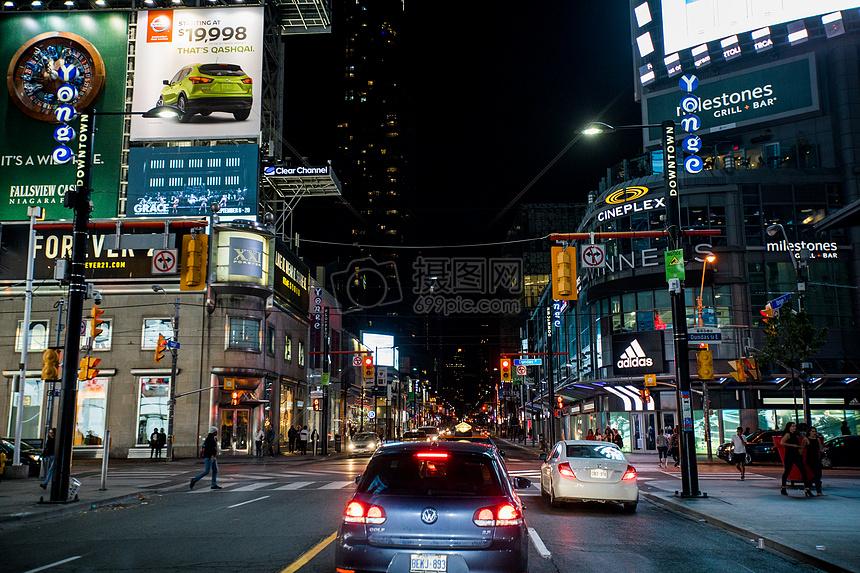 加拿大夜景多伦多旅游汽车灯光霓虹